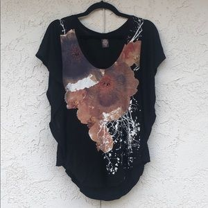 Free People Abstract Pansy Graphic Flutter Tee